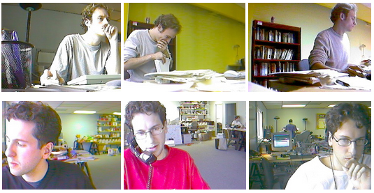 Some archival SparkCam shots of us at work in the summer of 2000 (Ben's the top row).