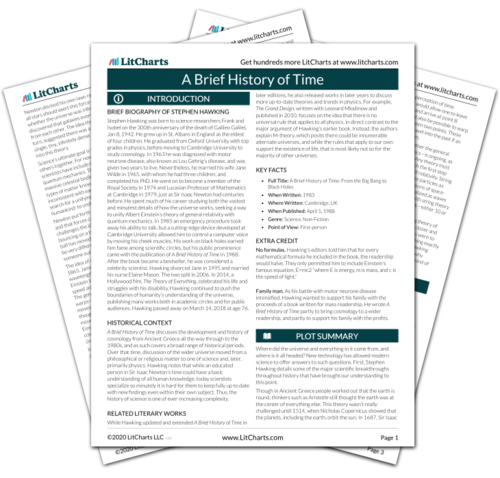 The printed PDF version of the LitChart on A Brief History of Time