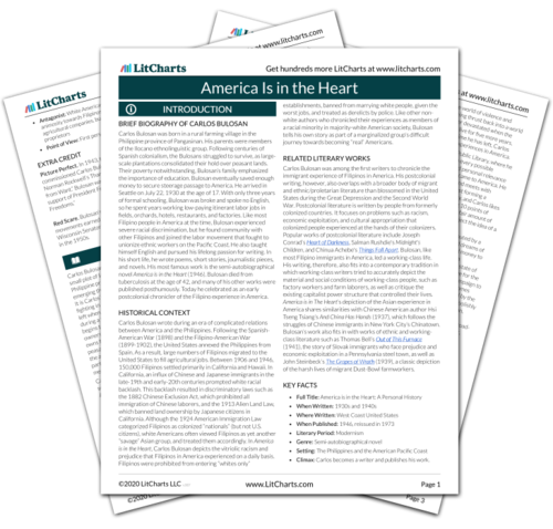 The printed PDF version of the LitChart on America Is in the Heart