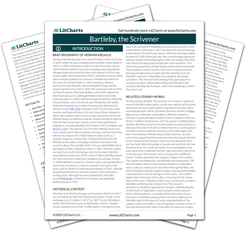 The printed PDF version of the LitChart on Bartleby, the Scrivener