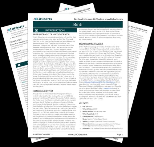 The printed PDF version of the LitChart on Binti