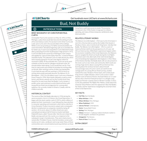 The printed PDF version of the LitChart on Bud, Not Buddy