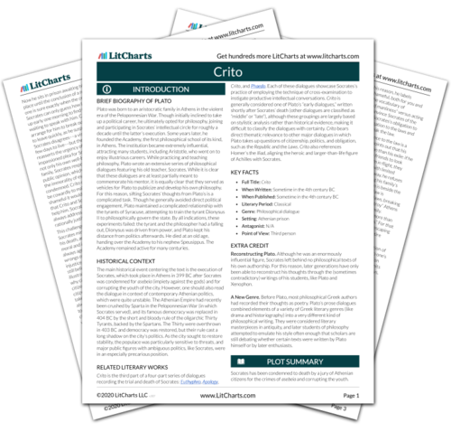 The printed PDF version of the LitChart on Crito