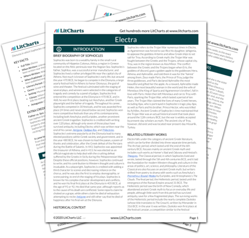 The printed PDF version of the LitChart on Electra