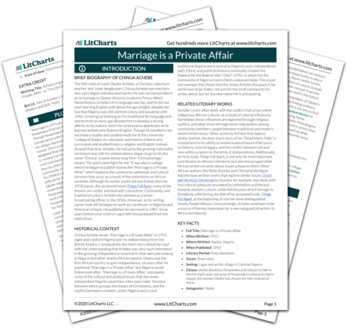 Marriage is a Private Affair Study Guide from LitCharts | The