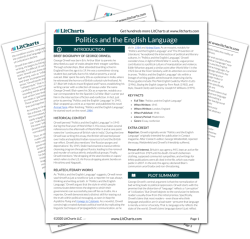 The printed PDF version of the LitChart on Politics and the English Language