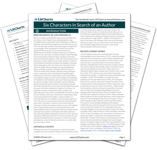 The printed PDF version of the LitChart on Six Characters in Search of an Author