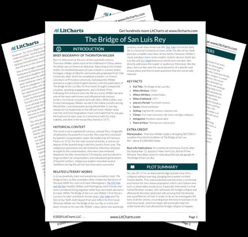 The printed PDF version of the LitChart on The Bridge of San Luis Rey