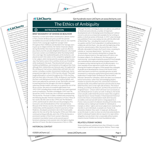 The printed PDF version of the LitChart on The Ethics of Ambiguity