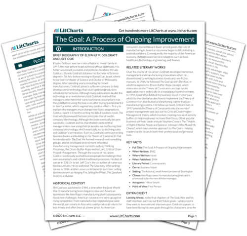 The printed PDF version of the LitChart on The Goal: A Process of Ongoing Improvement
