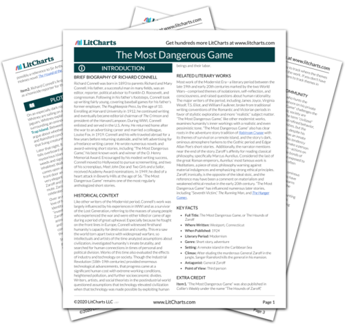 The printed PDF version of the LitChart on The Most Dangerous Game