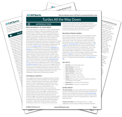 The printed PDF version of the LitChart on Turtles All the Way Down