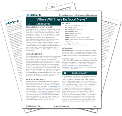 The printed PDF version of the LitChart on When Will There Be Good News?