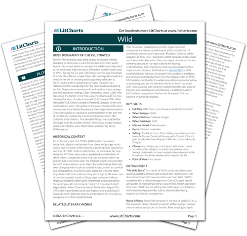 Wild Study Guide Literature Guide Litcharts