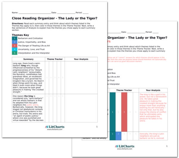 The LitCharts A<sup>+</sup> Teacher Edition of The Lady or the Tiger?